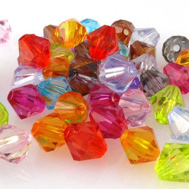 50 Perlen Mix bunt Bicone 8mm Perlenmischung bunte Rhomben aus Kunststoff -974 – Bild 3