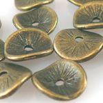 15 Metallperlen Metall Scheiben gewellt 9,5mm bronzefarben Perlen-1273