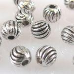 20 Metallperlen Kugeln 4mm Metall Perlen geriffelt altsilber Metallkugeln -1287