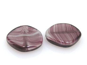 2 Glasperlen Murano Perlen Scheibe lila 20mm Bastelperlen -164 – Bild 2