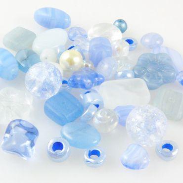 Bastelset aus 70 Glasperlen aktis blau Glas Beads Perlen Mix 5-16mm -805 – Bild 1