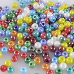 Rocailles 240St. 6/0 Perlen Glasperlen Farben-Mix 4mm Beads bunt -422