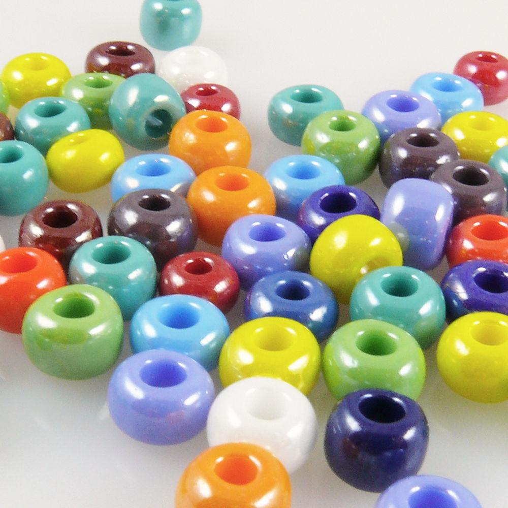 60 große Rocailles Glasperlen 6-8mm Perlen Mix Schwarz weiß kristall Glas Beads