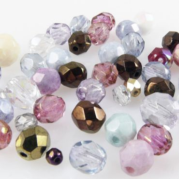 Perlenmix 50 bunte Glasschliffperlen Perlen 4-8mm Fire polished Glas Beads -117