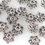 30 Perlenkappen Endkappen Perlkappen silber Kappen für Perlen 6mm -1300