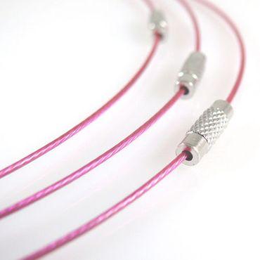 Halsreif aus Edelstahl mit Schraubverschluß 46cm pink Collier Halsreifen NEU – Bild 1