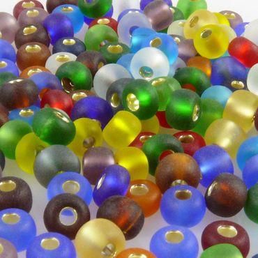 200x Rocailles 5/0 Glasperlen Perlen-Mix m. Silbereinzug 4mm bunt Indianerperlen – Bild 1