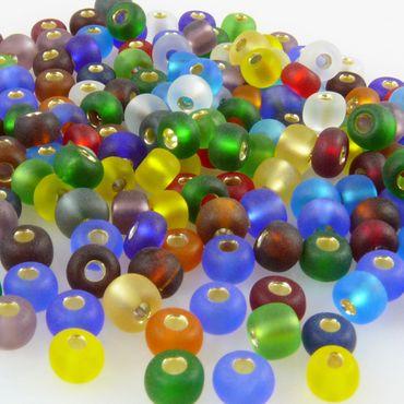 200x Rocailles 5/0 Glasperlen Perlen-Mix m. Silbereinzug 4mm bunt Indianerperlen – Bild 2