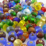 200x Rocailles 5/0 Glasperlen Perlen-Mix m. Silbereinzug 4mm bunt Indianerperlen