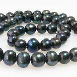 1 Strang Süßwasserperlen 59 St. Zuchtperlen schwarz Perlen 6-7mm Perlenstrang