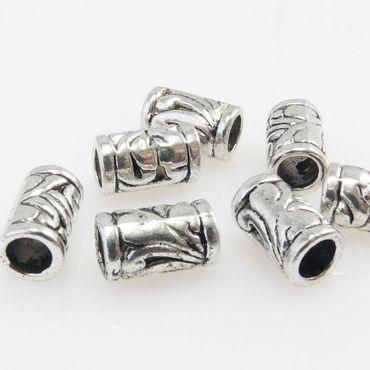 7 Metallperlen 11x6mm Spacer Großlochperlen altsilber Metall Beads Metallbeads