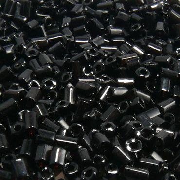 1100 Rocailles-Stifte 2,5mm Röhrchen schwarz Glasperlen Tube Beads -113