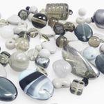 Bastelset aus 60 St. Glasperlen grau grau-blau Mix 4-19mm Glas Beads Perlenmix