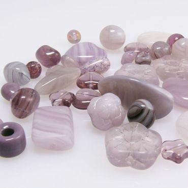 Bastelset 40 lila Glasperlen flieder Perlen Mix 4-24mm Glas Beads Perlenmschung