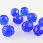 9x böhmische Glasschliffperlen facettiert 10mm rund blau Glasperlen Kugeln Beads