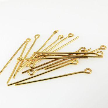 16 Ösenstifte Kettelstifte vergoldet 30mm Stifte Verbinder  -478