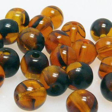 30x Glasperlen Kugeln braun gemasert Ø 5mm Bastelperlen Beads Böhmische Perlen – Bild 1