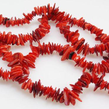 1 Strang Perlmuttperlen ca. 400St. Muschelperlen 6-16mm rot Perlenstrang