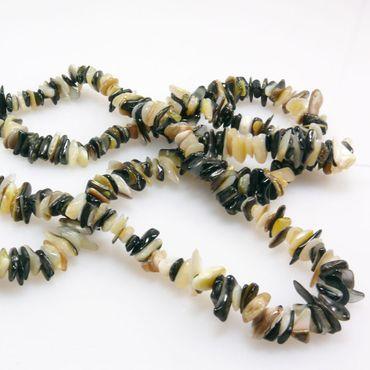 1 Strang Perlmuttperlen 400St. Muschelperlen 5-15mm schwarz weiß Perlenstrang