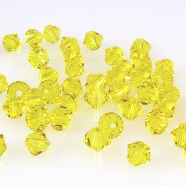 10x SWAROVSKI ELEMENTS 5301 Bicone 4mm Citrine Glasperlen Doppelkegel gelb-1605 – Bild 2
