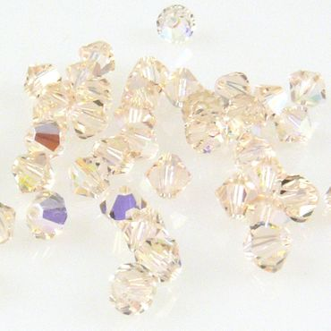 10x SWAROVSKI ELEMENTS 5301 Bicone 4mm Silk AB Glasperlen Doppelkegel -1614 – Bild 2
