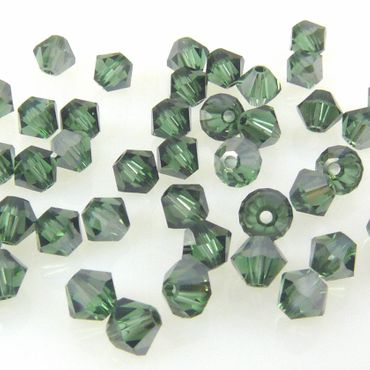 10x SWAROVSKI ELEMENTS 5301 Bicone 4mm Green Turmalin Satin Glasperlen Kegel – Bild 2