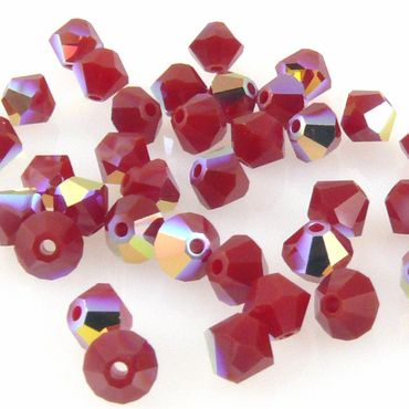 10x SWAROVSKI ELEMENTS 5301 Bicone 4mm Dark Red Coral AB Glasperlen Doppelkegel – Bild 2