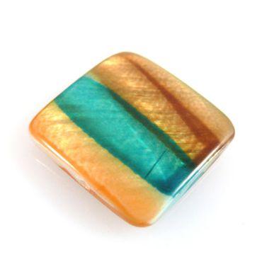 edle Perlmuttperle Quadrat Muschelperle türkis braun orange 18mm Perlen -159 – Bild 1