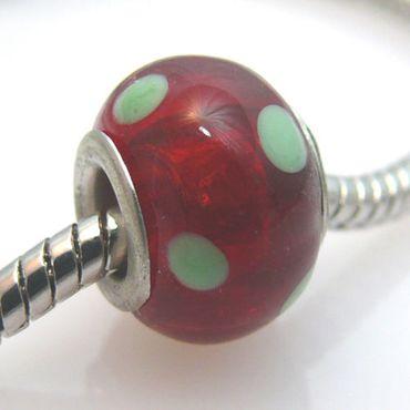 Großlochperlen Glas Bead 14mm Glasbead rot Glasperlen zum Sammeln -192