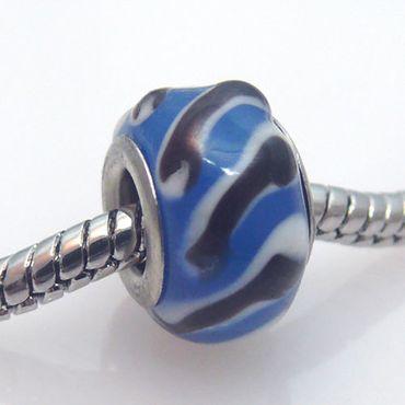 Murano Glas Bead blau Glasperle Glasbeads für Armbänder -194