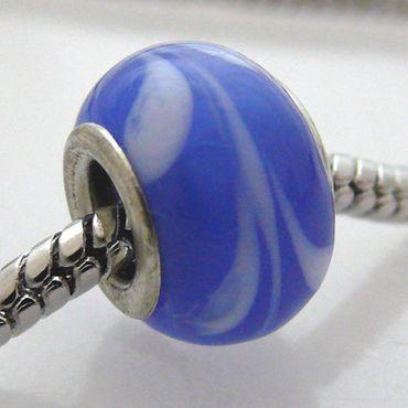 Großlochperlen Glas Bead blau 13mm Glasperle für Armbänder Sammelperlen -538