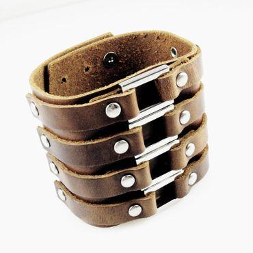 breites Herren Lederarmband braun 18,5-23cm Herrenarmband Leder Männerschmuck – Bild 1