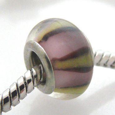 Schmuckperle aus Glas Bead in rosa Glasbeads zum Sammeln für Ketten -542