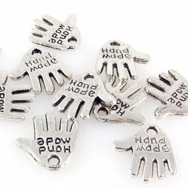 """10x Metallanhänger """"Hand Made"""" altsilber Metall Anhänger 13mm -856"""
