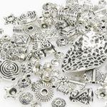 Bastelset Metallperlen Mix 131 St. Metall Beads Perlen silber antik -293