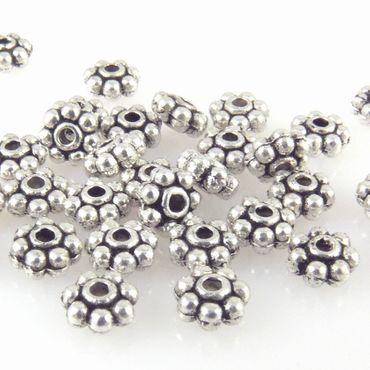 30x Metallperlen Rondelle 5mm Spacer Metall Perlen altsilber zum Basteln -1444