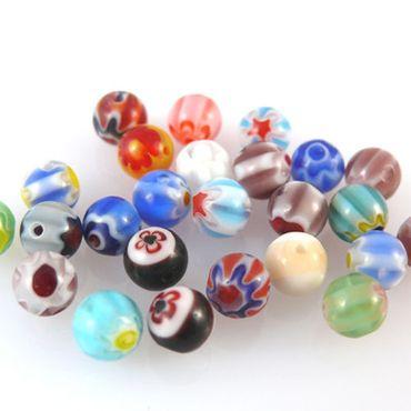 25 bunte Glasperlen Kugeln Millefiori 6mm Millefioriperlen Perlen zum Basteln