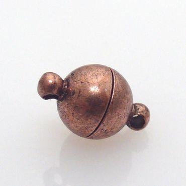 Magnetverschluß Kugel Verschluss Kupfer antik 12mm -787 – Bild 1