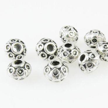 10 Metallperlen Metall Perlen 6mm Rondelle silber Perlen Spacerperlen -641