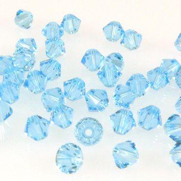 100x SWAROVSKI ELEMENTS 5328 Bicone 4mm aquamarine Glsperlen Doppelkegel blau – Bild 1