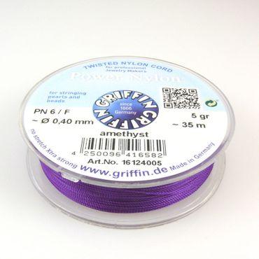 GRIFFIN Power Nylon Perlseide PN6 Ø 0,40mm amethyst ~35m Nylonfaden Perlenschnur – Bild 1