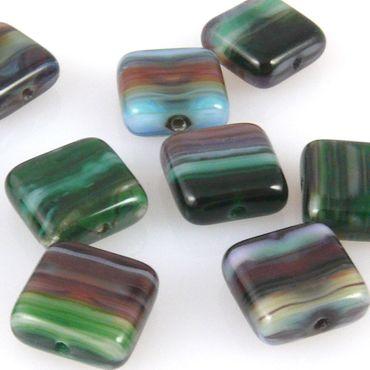 10 edle Glasperlen Quadrat Kissen 10mm Perlen bunt gemasert zum Basteln -388 – Bild 1