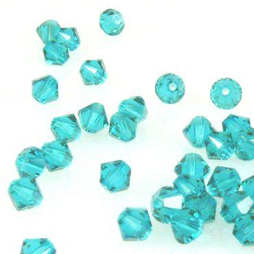 100x SWAROVSKI ELEMENTS 5328 Bicone 4mm Blue Zircon Glassteine blau Doppelkegel – Bild 1