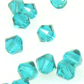 100x SWAROVSKI ELEMENTS 5328 Bicone 4mm Blue Zircon Glassteine blau Doppelkegel – Bild 2