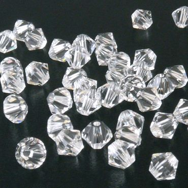 50x SWAROVSKI ELEMENTS 5328 Bicone 4mm crystal Perlen Doppelkegel transparent – Bild 2