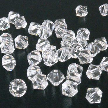 100x SWAROVSKI ELEMENTS 5328 Bicone 4mm crystal Glasperlen Doppelkegel kristall