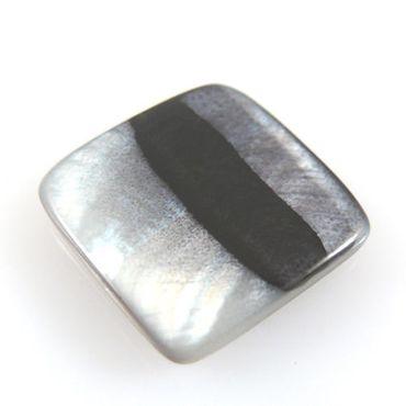 edle Perlmuttperle Quadrat Muschelperle schwarz silber grau 18mm Perlen -991 – Bild 1