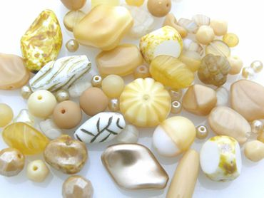 edles Perlen Mix sand 60 Glasperlen 3-22 mm beige Glas Beads -1033 – Bild 2