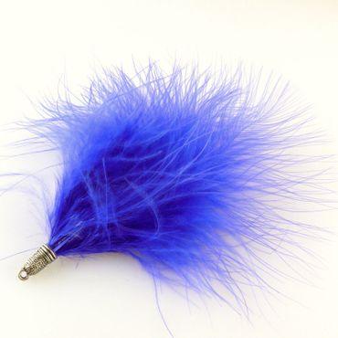Feder blau ca. 12cm Metallanhänger altsilber mit Öse Federn zum Anhängen -1100