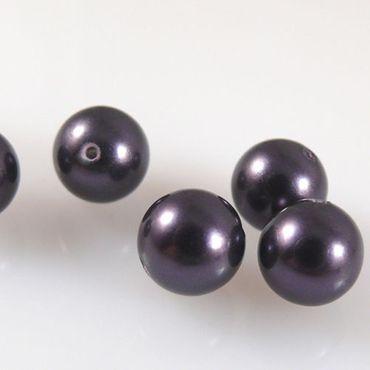 5 Perlmuttperlen Kugeln 8mm Muschelperlen rund aubergine Perlen zum Basteln-1134